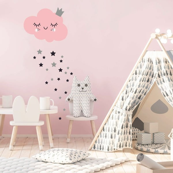 Set autocolante pentru perete Ambiance Pink Clound and Stars