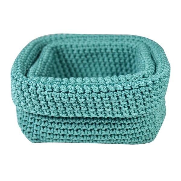 Set 2 tyrkysových háčkovaných košíků Jocca Crochet