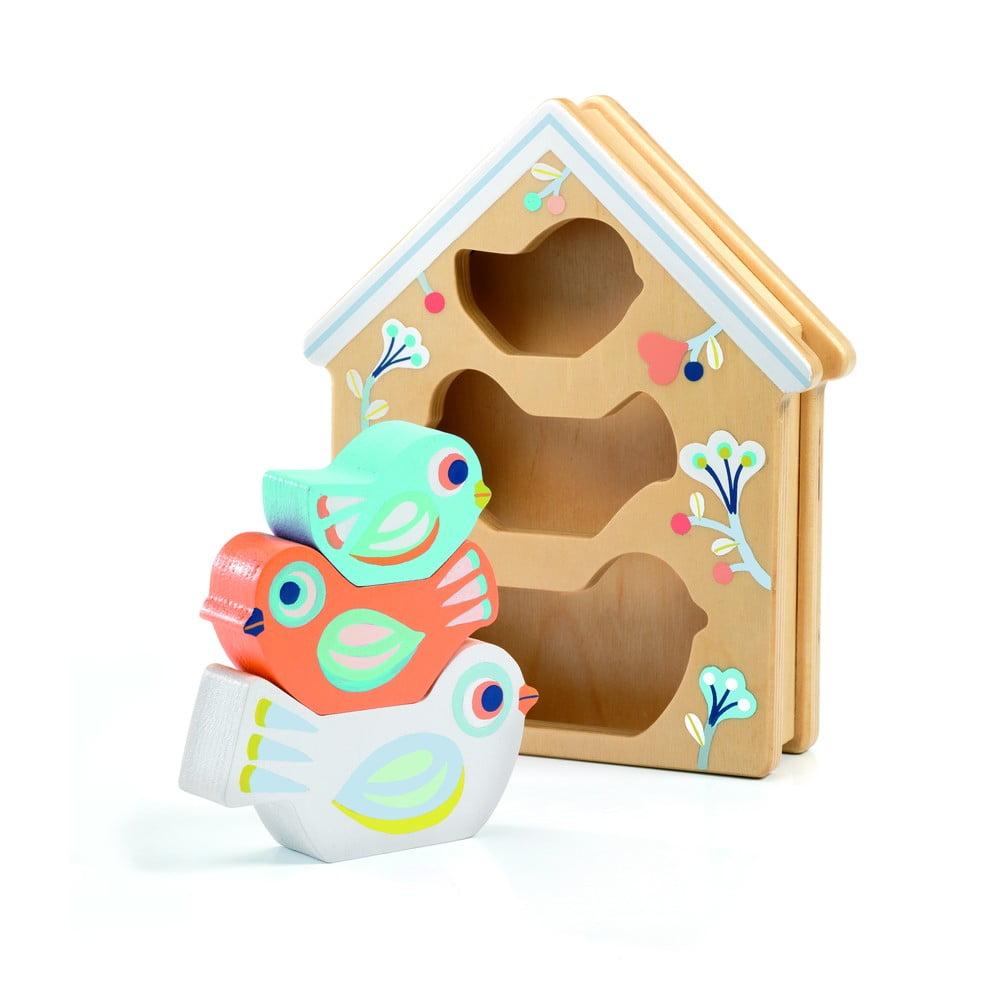 Dětské vkládací dřevěné puzzle Djeco Ptačí budka