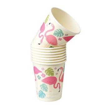 Set 8 pahare din hârtie Rex London Flamingo Bay, 250 ml