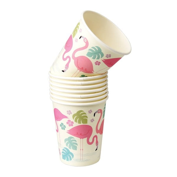 Set 8 pahare din hârtie Rex London Flamingo Bay, 250 ml