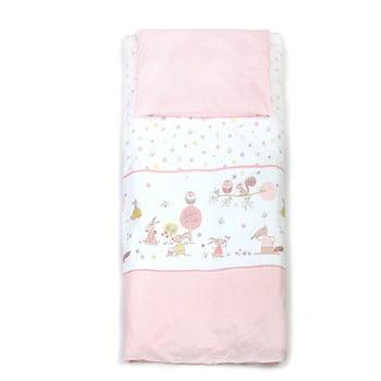 Lenjerie pat pentru bebeluși YappyKids Forest Story 100 x 135 cm roz