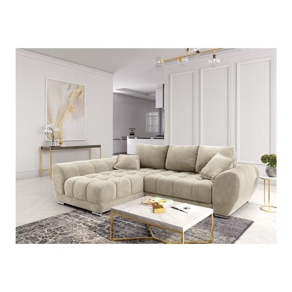 Canapea extensibilă cu înveliș de catifea Windsor & Co Sofas Nuage, pe partea stângă, bej