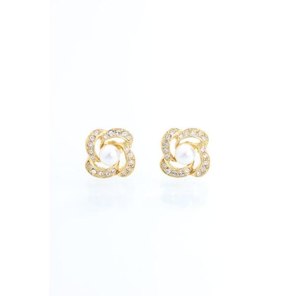 Maia aranyszínű fülbevaló Swarovski Elements kristályokkal - Laura Bruni