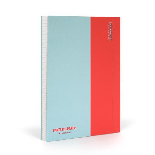 Zápisník FANTASTICPAPER A5 Skyblue/Warm Red, čtverečkový