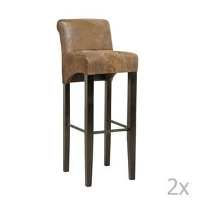 Sada 2 barových židlí s podnožím z bukového dřeva Kare Design Vintage