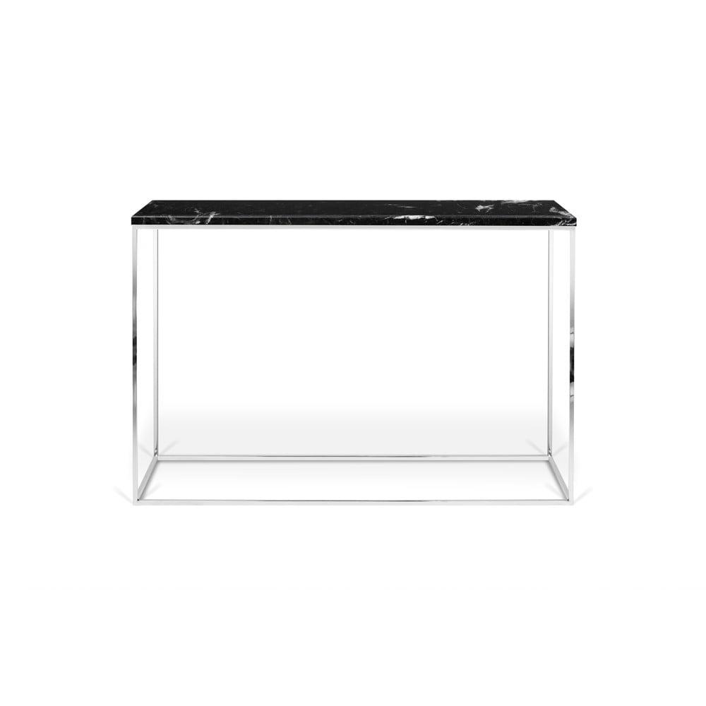 Černý konzolový stolek s mramorovou deskou TemaHome