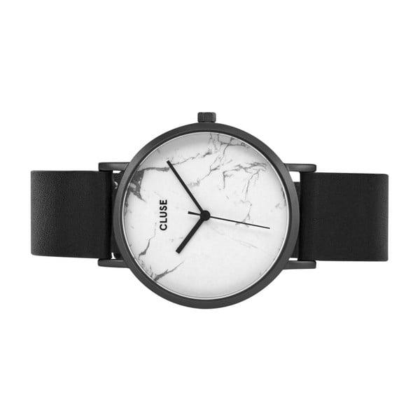 Dámské hodinky s černým koženým řemínkem a bílým mramorovým ciferníkem Cluse La Roche
