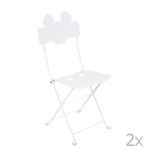 Sada 2 bílých kovových zahradních židlí Fermob Bistro Mickey