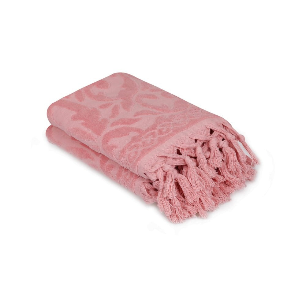 Sada 2 růžových ručníků Madame Coco Bohème, 50 x 90 cm Saheser