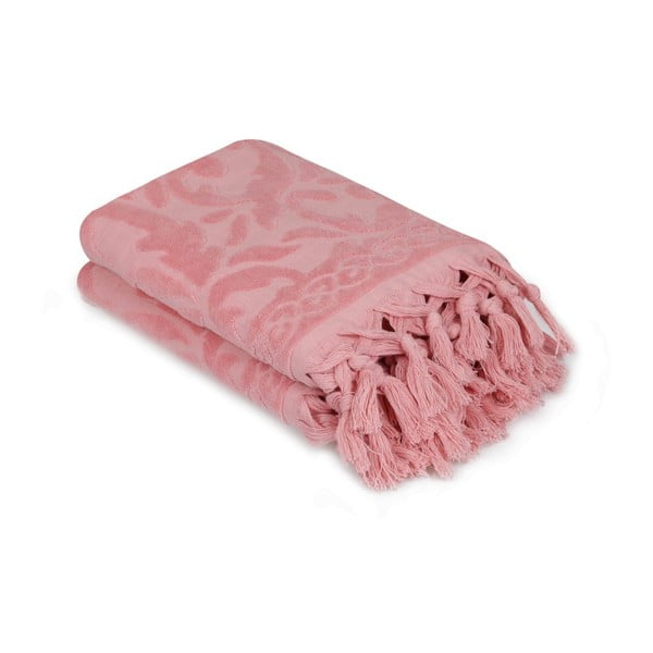 Komplet 2 różowych ręczników Madame Coco Bohème, 50x90 cm