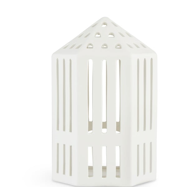 Biely keramický lampáš Kähler Design Galleria, výška 18,5 cm