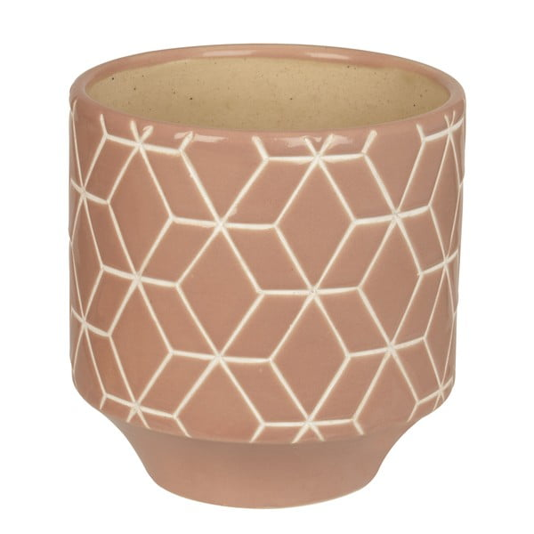 Keramický květináč Present Time Hexagon Carved Pink, medium