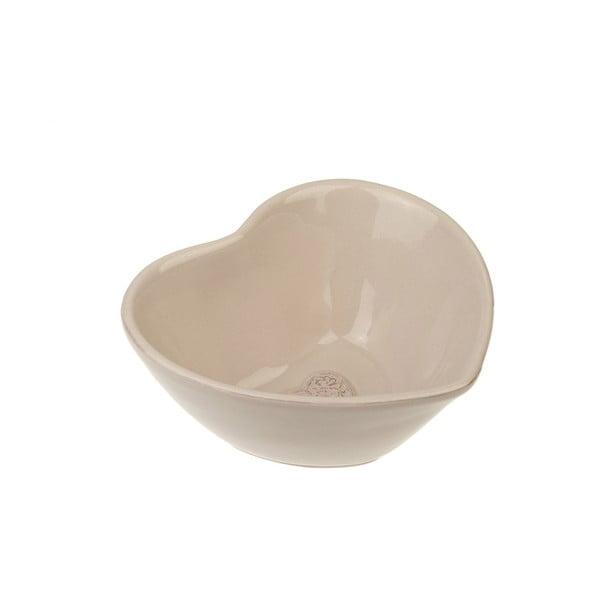 Keramické misky Srdce, béžové, 14 cm, 2 ks