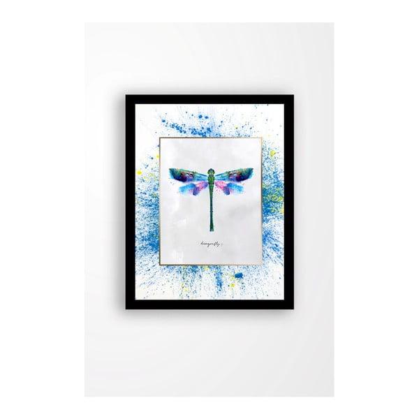 Nástěnný obraz na plátně v černém rámu Tablo Center Dragonfly, 29 x 24 cm