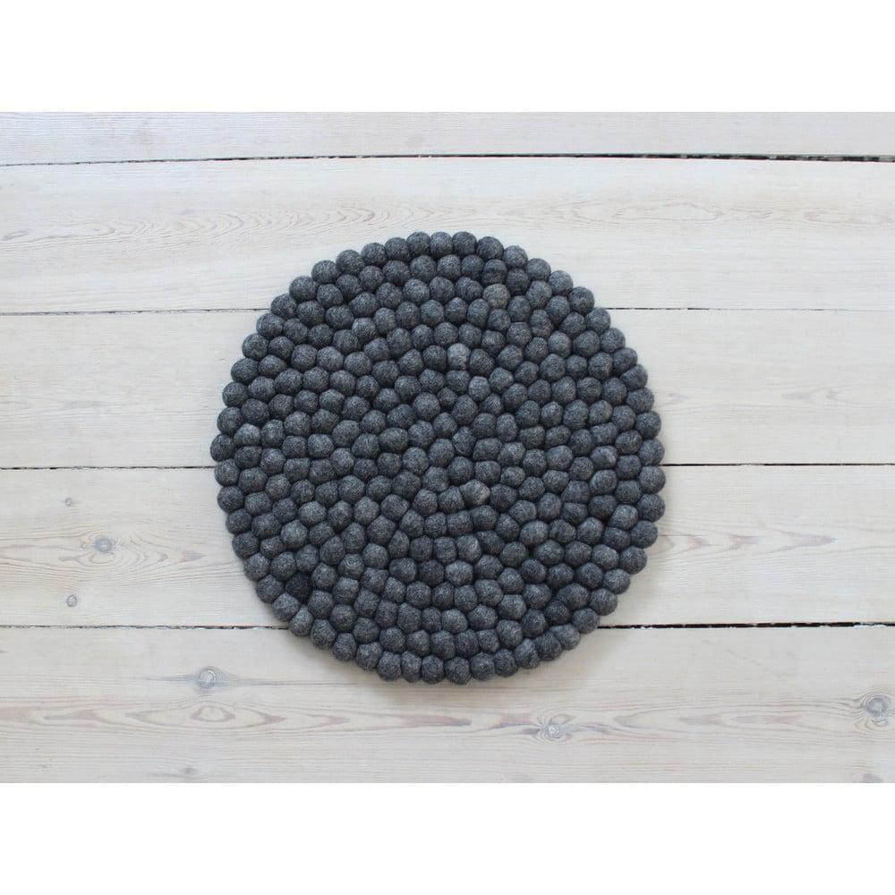 Antracitový kuličkový vlněný podsedák Wooldot Ball Chair Pad, ⌀ 39 cm
