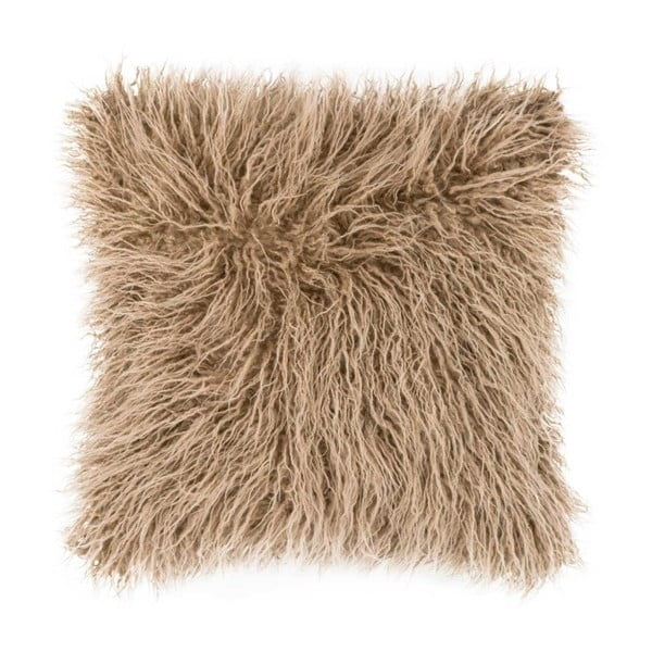 Světle hnědý chlupatý polštář Tiseco Home Studio Mohair, 45x45cm