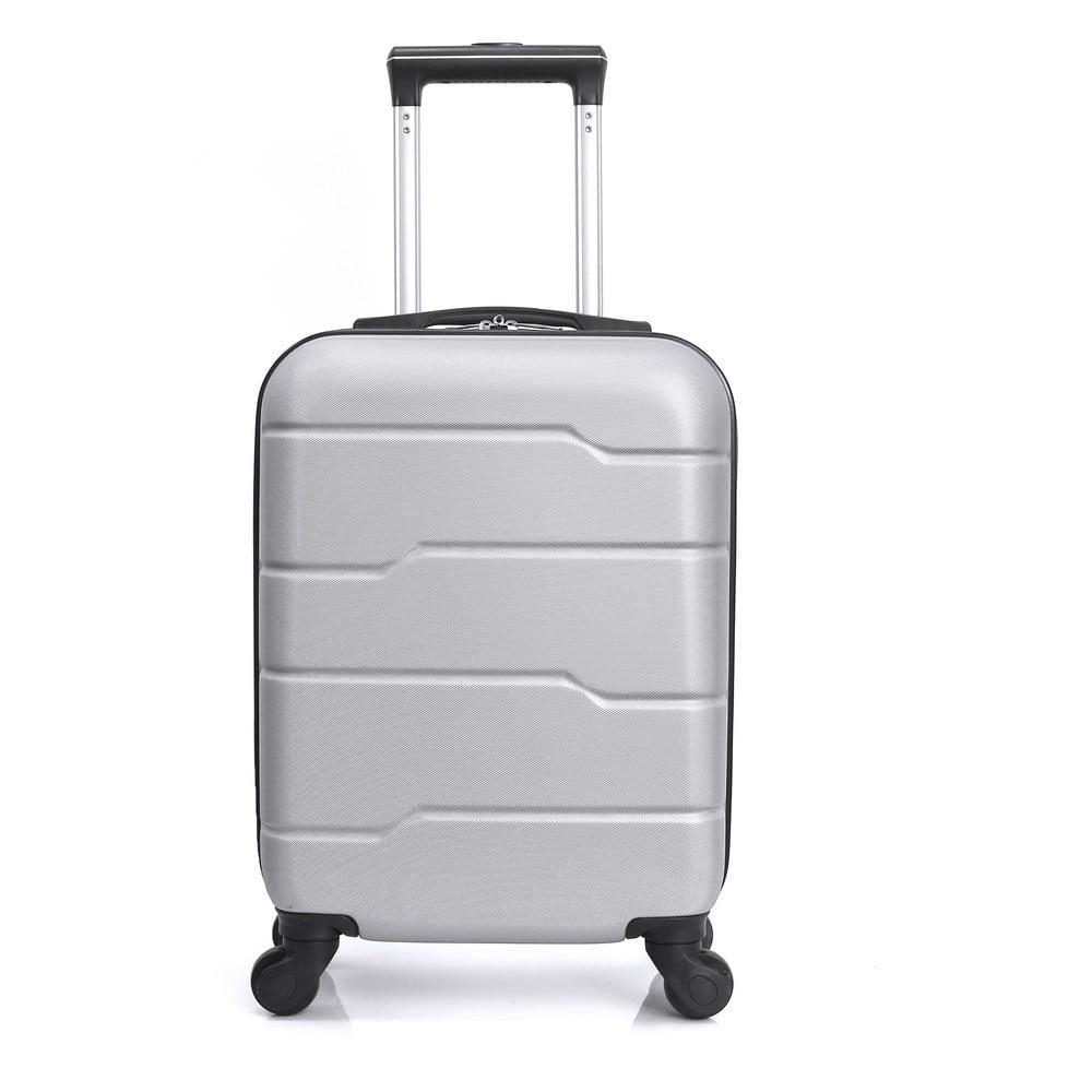 Stříbrně šedý cestovní kufr na kolečkách Hero Santiago, 30 l