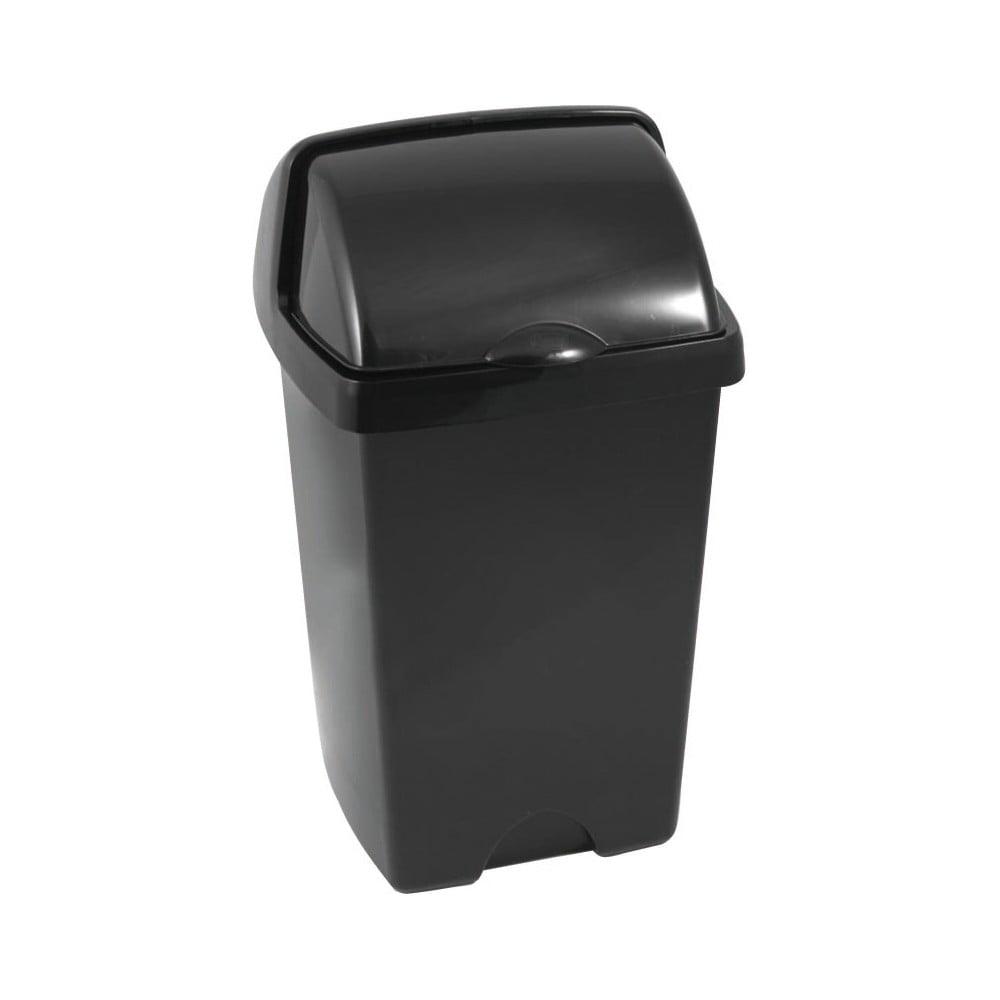 Větší černý odpadkový koš Addis Roll Top, 31 x 30 x 52,5 cm