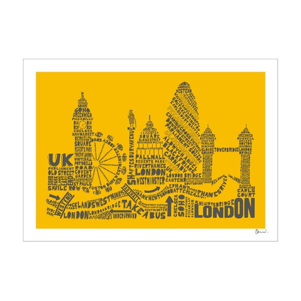 Plakát London Yellow&Grey, 50x70 cm
