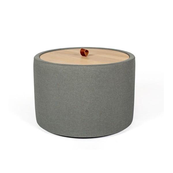 Ibisco szürkészöld tárolóasztal, levehető tölgyfa asztallappal, ⌀ 56 cm - Askala
