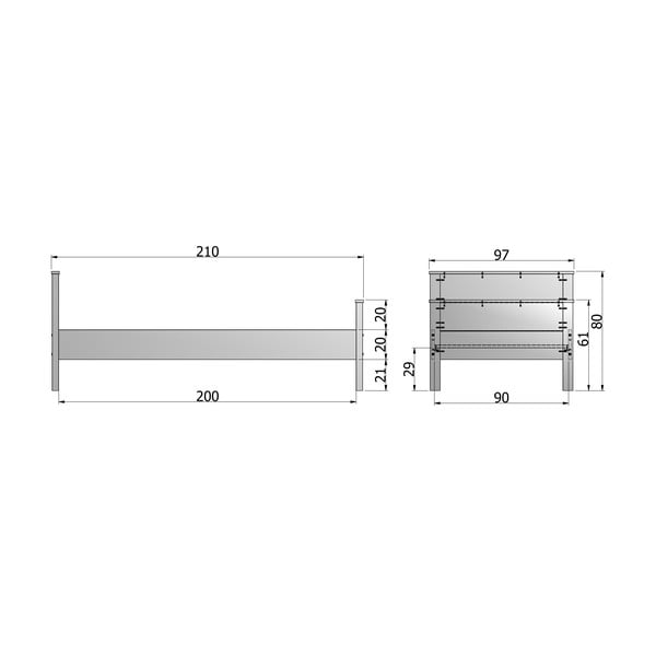 Bílá postel Jade De Eekhoorn 90x200cm