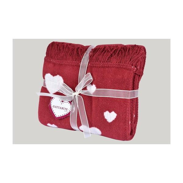 Červená deka s příměsí bavlny Dolce Bonita Kalp, 155 x 125 cm