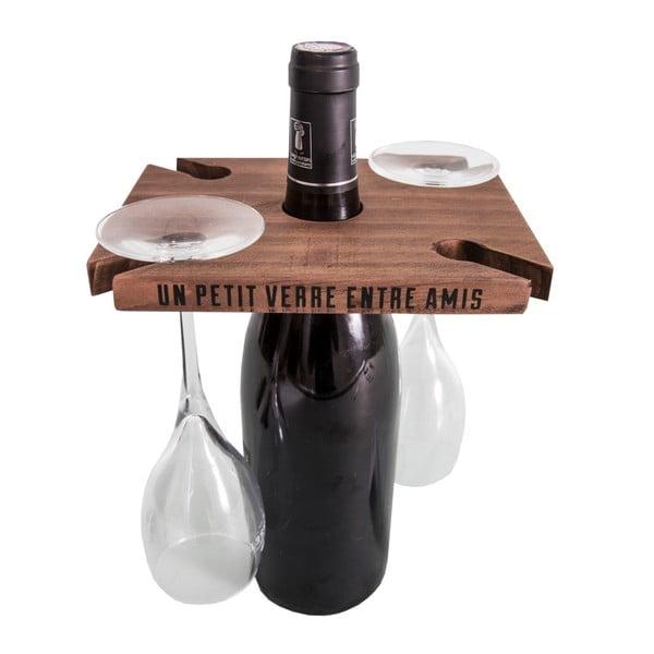 Brązowy stojak na wino i 2 kieliszki Antic Line Entre Amis