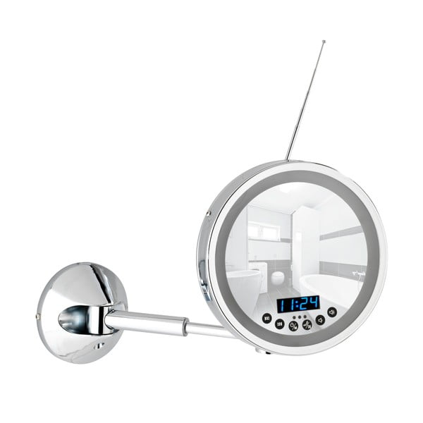 Nástěnné zvětšovací zrcadlo s LED osvětlením a rádiem Wenko Imperial