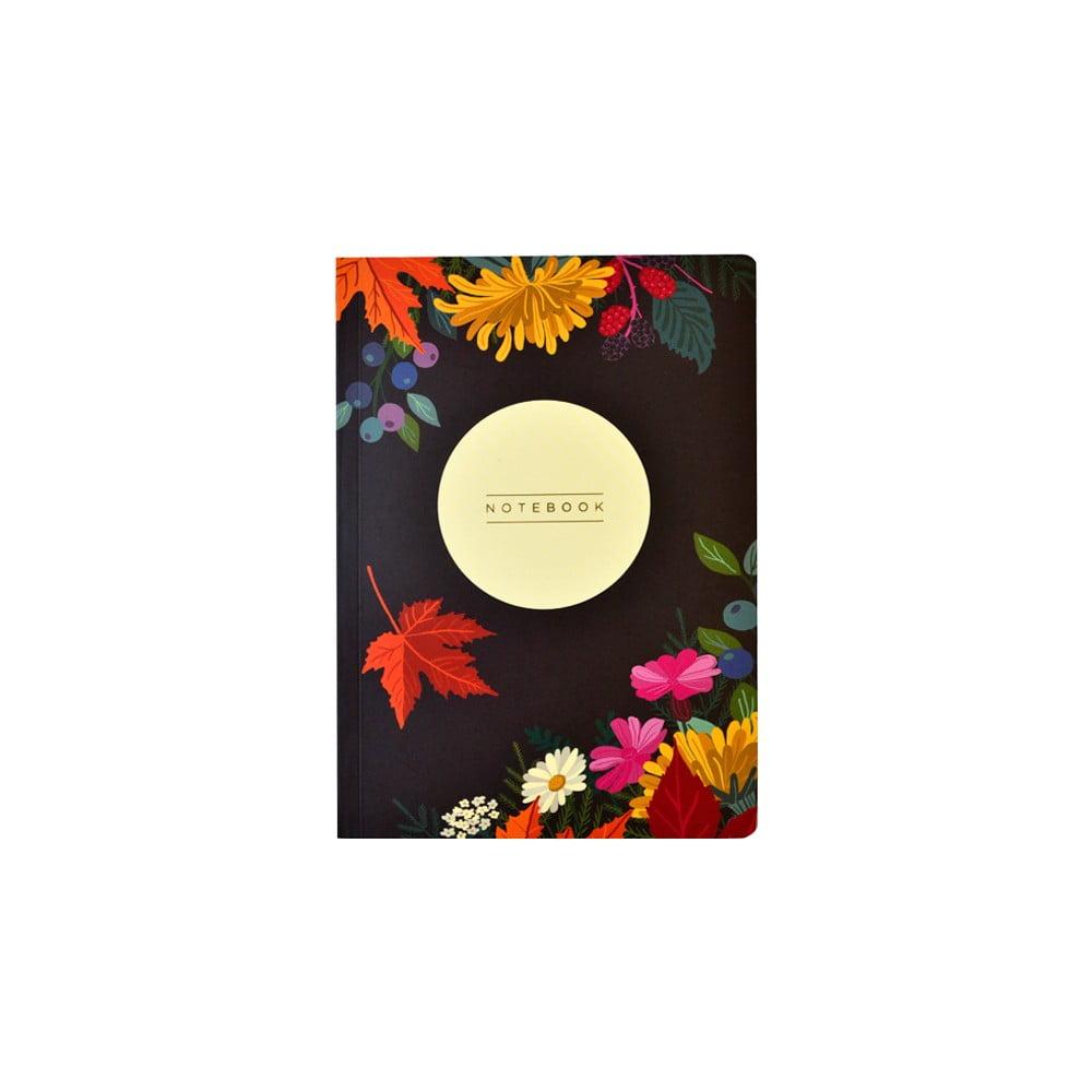 Zápisník A5 Portico Designs Autumn Floral Flexi, 160 stránek