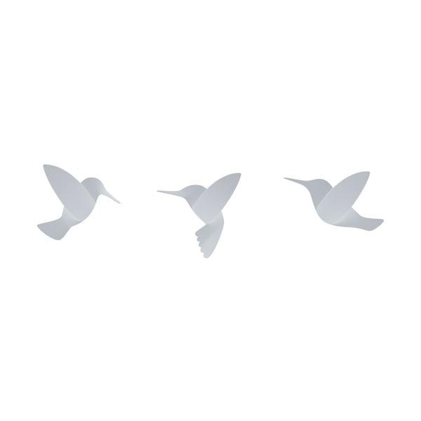 Zestaw 3 białych 3D naklejek ściennych Umbra Hummingbird