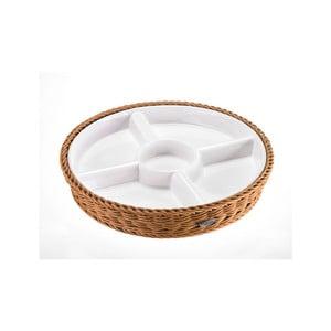 Porcelánová servírovací miska v béžovém košíku Saleen, ⌀ 28,5 cm