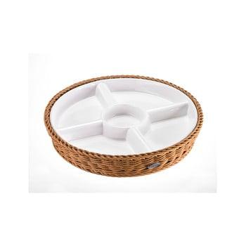 Bol servire din porțelan în coș bej Saleen, 28,5 x 4,5 cm