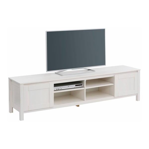 Biała   szafka pod TV z 4 półkami z litego drewna sosnowego Støraa Salento