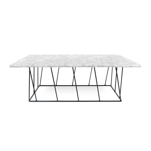 Biały stolik marmurowy z czarnymi nogami TemaHome Helix, 75x120 cm