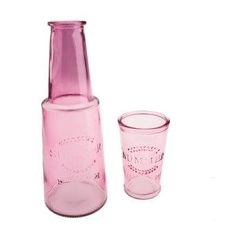 Carafă din sticlă cu pahar Dakls, 800 ml, roz imagine