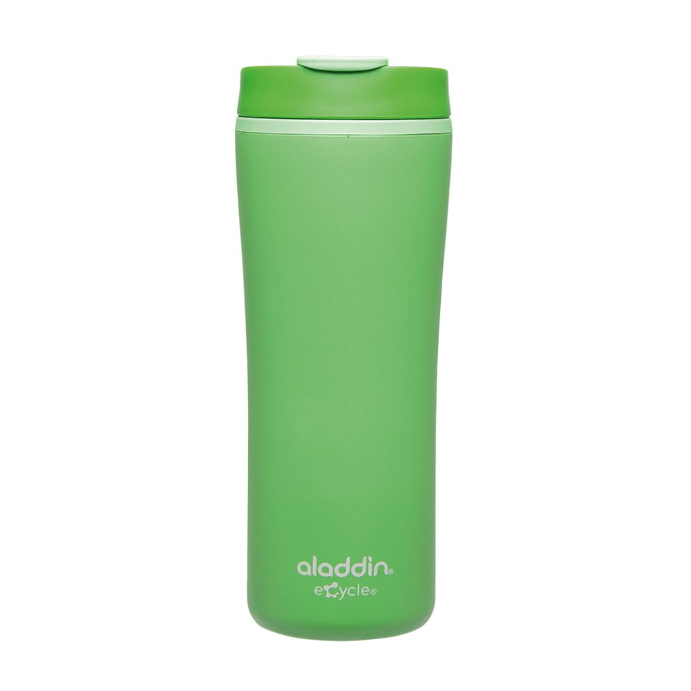 Zelený termohrnek z recyklovatelného plastu Aladdin Flip-Seal™, 350 ml