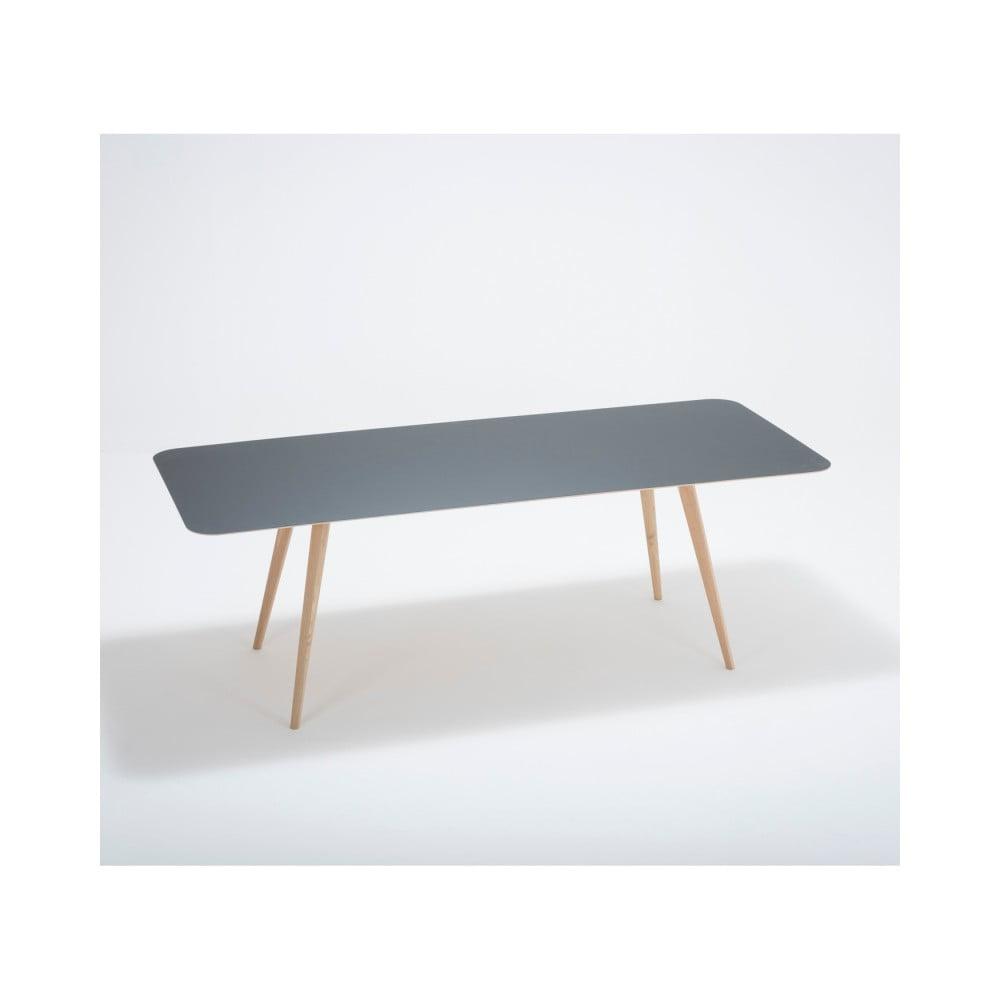 Jídelní stůl z masivního dubového dřeva s černou deskou Gazzda Linn, 220x90cm