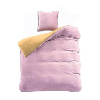Lenjerie reversibilă din microfibră DecoKing Furry, 135x200cm, roz-galben de la DecoKing