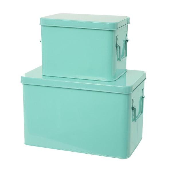 Set 2 skladovacích boxů Present Time Metal Mint