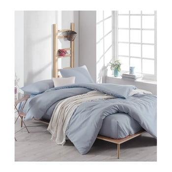 Lenjerie de pat și cearșaf din bumbac Anna, 220 x 240 cm, albastru deschis