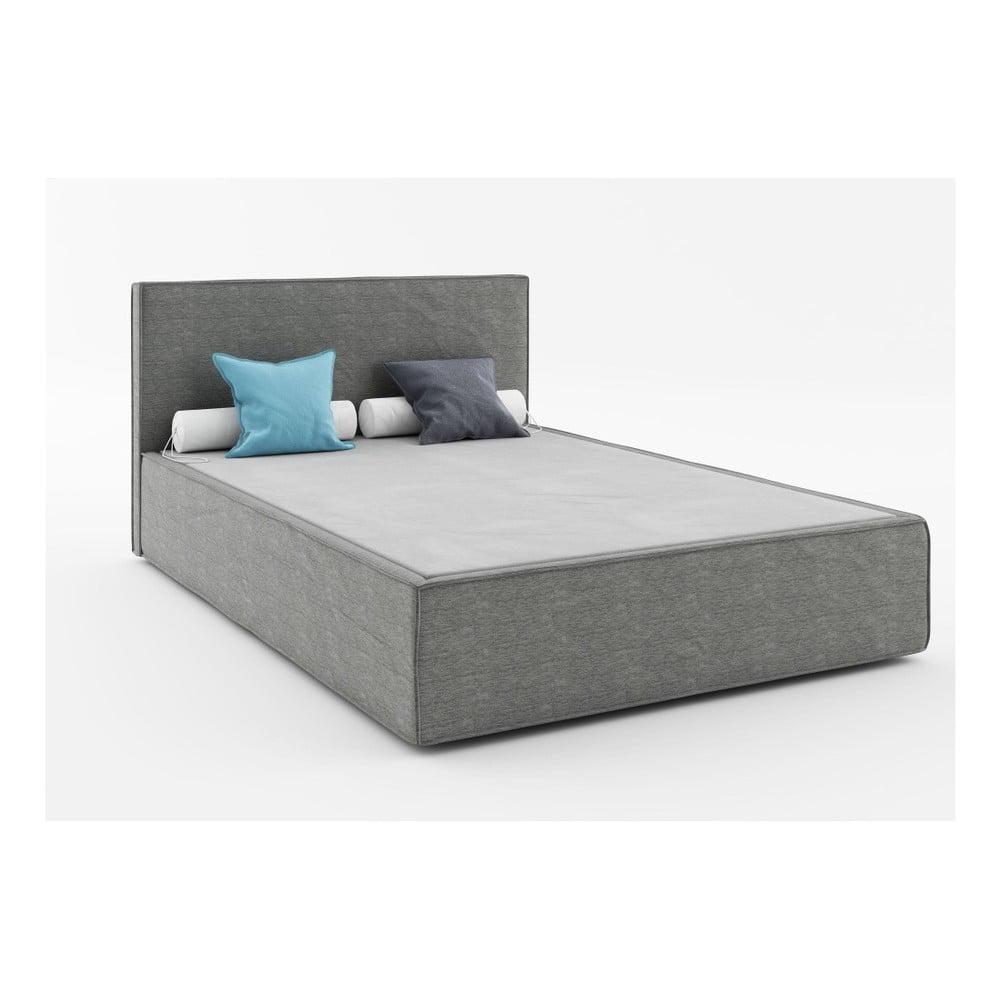 Tmavě šedá dvoulůžková postel Absynth Mio Soft, 160 x 200 cm