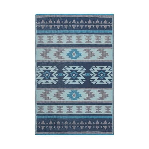 Modrý obojstranný vonkajší koberec z recyklovaného plastu Fab Hab Cusco Blue, 120 x 180 cm