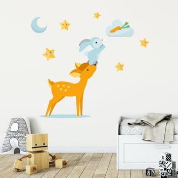 Set autocolante pentru perete Ambiance Scandinavian Animals Rabbit and Fawn imagine