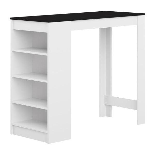 Biały stół barowy z czarnym blatem TemaHome Aravis