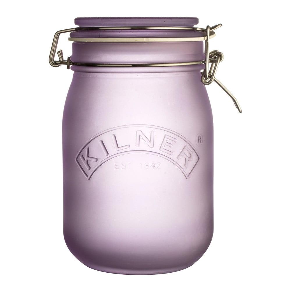 Mléčně fialová sklenice s klipem Kilner, 1 l