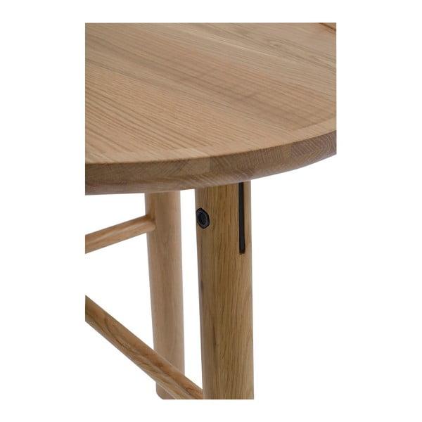 Masă din lemn de stejar, mat, Folke  Saga, ⌀ 50cm