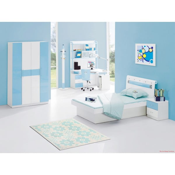 Tyrkysový  bavlněný koberec Floorist Kamili, 80x300cm