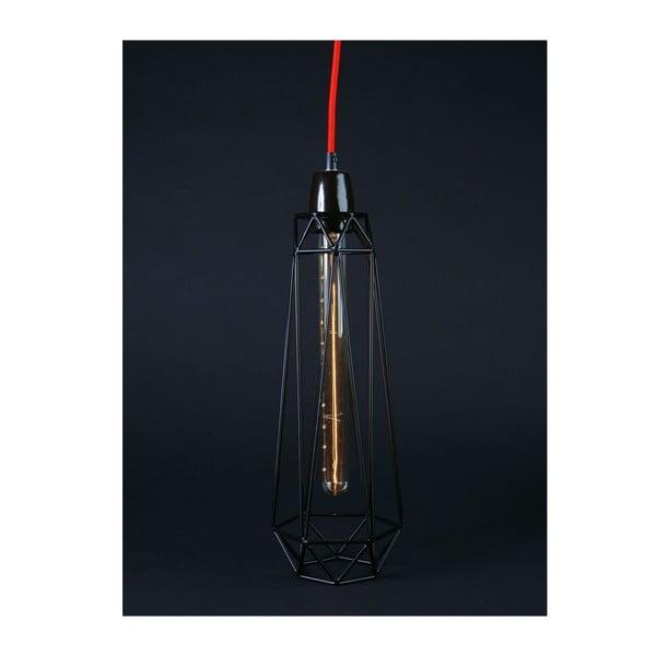 Světlo s černým stínítkem a červeným kabelem Filament Style Diamond #2