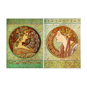 Set 2 tablouri Alfons Mucha - Ivy And Laurel, 80x60 cm